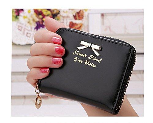 Distinct® neue Damen Handtasche aus Leder Mini-Geldbörse Karte Halter kleine Zip Münze Handtasche Kupplung (schwarz) - Halter 4-münze