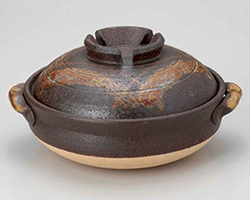 Tetsu-Red Koshi for 2-3 persons 21cm Donabe Japanese Hot pot Brown Ceramic Made in Japan