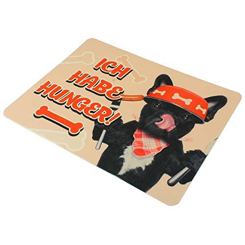 MACOSA PA31009 Napfunterlage Ich Habe Hunger 50 x 39 cm Kunststoff Antirutsch-Unterlage Fressnapf-Matte Haustier-Zubehör Napf Futternapf-Unterlage