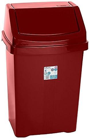 8L/15L/25L/50L Plastic Swing Bin Dustbin Large Lid Bin Home Office (50L, Red Chilli)