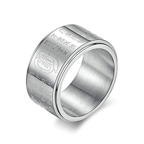 Amody Männer Ringe Titan 11.6MM Rotierender Religiöser Ring Party Ring Gothik Ring Finger Ring Größe 54 (17.2) Silber (Stein Für Ring Gold 14k Männer Blau)