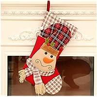 SOPOUITRO Exterior Interior Calcetines de Navidad de Tela Bolsa de Dulces Bolsa de Regalo Adornos de