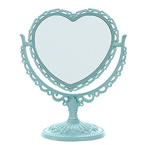 Frcolor Miroir cosmétique simple classique, miroir pivotant de table pivotant à deux côtés de table de 8 pouces avec grossissement (forme de coeur, bleu)