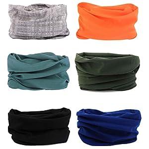 6 Stück Nahtlose Bandanas Multifunktionstuch Schal – Elastiche Multifunktion Stirnband Gaiter Balaclava Gesichtsmaske Kopfbedeckung UV Residenz für Yoga Laufen Wandern Radfahren Motorradfahren