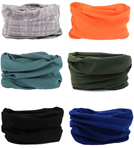 6 pezzi copricapo multifunzione fascia bandana sciarpa di riciclaggio della bici tubo elastico fascia magica balaclava maschera uv residence per yoga climb ciclismo hiking