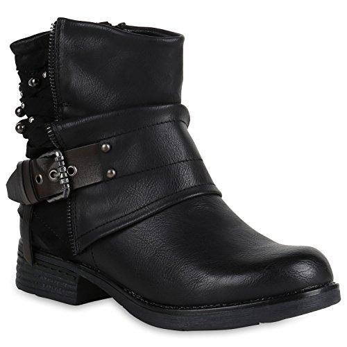 Gefütterte Damen Biker Boots Glitzer Stiefeletten Nieten Schuhe 147792 Schwarz 37 Flandell