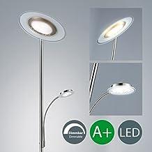 Lámpara de pie LED I Lámpara LED de salón I Foco de techo I Iluminación I Níquel mate I Metal y vidrio I Regulable y orientable I 230 V I IP20 I 21 W I Altura: 1795 mm