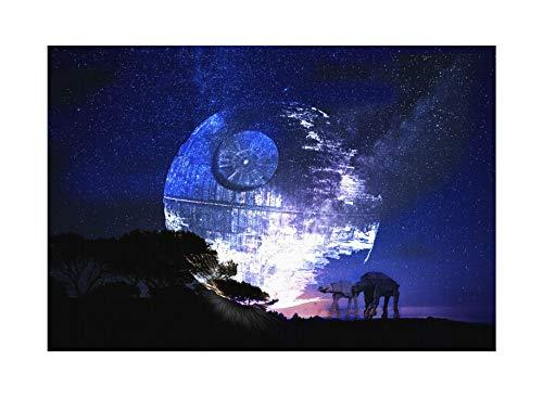 Uglyshirt89 Death Star Moonlight Premium Leinwand   Star Todesstern Darth Vader Keilrahmen Bild Gemälde Wandbild (60 x 40 cm)