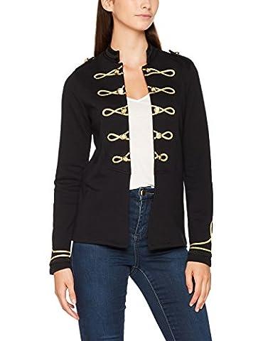 ONLY Onlanette L/s Jacket Swt, Veste Sweat Femme, Noir (Black Detail:Gold Trim On Front), 40 (Taille Fabricant: Large)