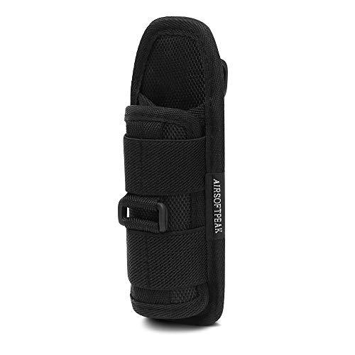 Funda de linterna, elástico táctica linterna bolsa soporte linterna funda con 360 grados giratorio Clip para el cinturón, color negro (Negro--Long Type1)