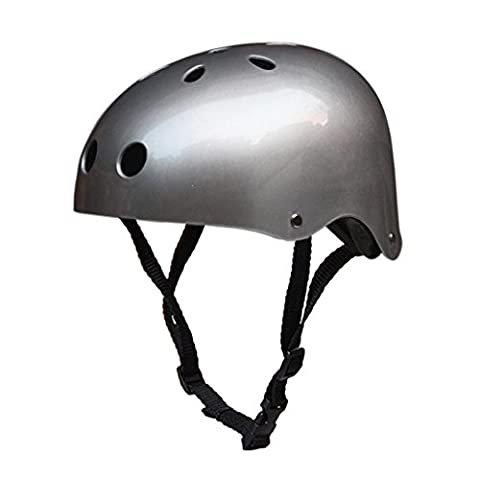 Bike Skate Helmet - Kingwo Adult Kids Skateboard Helmet Impact resistance Ventilation for Multi-sports Cycling Skateboarding Scooter Roller Skate Inline Skating Rollerblading Longboard Two Wheel Electric Board Bike/Skate/Cycling Helmet Driftage Helmets (Bright Silver,