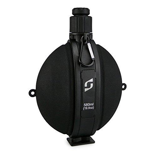smardy® Premium Outdoor Feldflasche Wasserflasche Trinkflasche - Bundeswehr, Militär, US Army Style mit Kompass – BPA frei – Farbe schwarz
