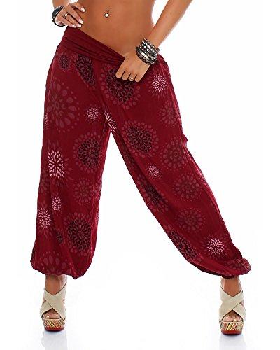 ZARMEXX Damen Pumphose Pluderhose Harem-Stil Sommerhose all over Print Freizeithose Aladinhose Hose One Size (Einheitsgröße: Gr. 36-42, bordeaux) - Print-stretch-höschen