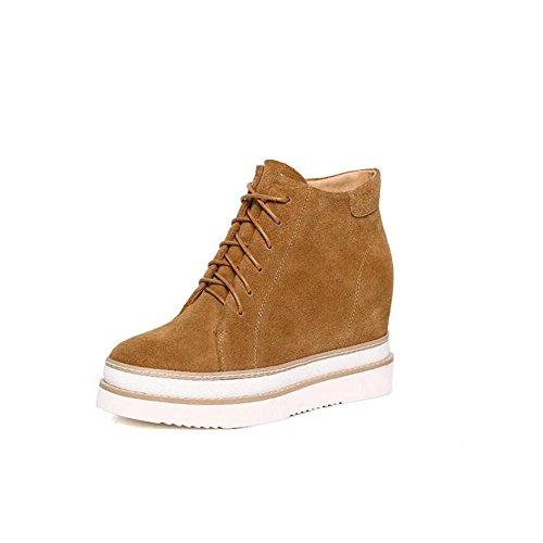 YYH Lace Up Board Shoes versione coreana alla moda tempo libero Genuine Leather donna . khaki . 34