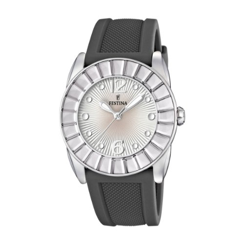 Festina Ladies Analogue Watch F16540/4 with Rubber Strap and Silver Dial