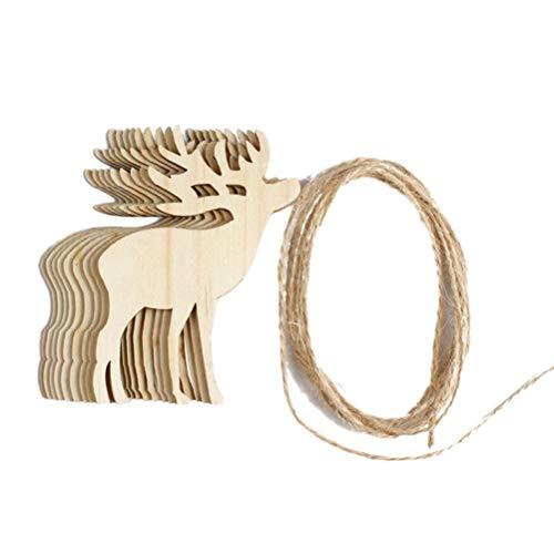 Bestoyard addobbi albero di natale legno forma renne fette di legno decorazioni natale da appendere natale etichette regalo 10 pezzi