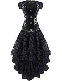 61b5eb70833 Burvogue Damen Steampunk Gothic Corsage Kleid Lang Rock Corsagenkleid  (MEHRWEG)
