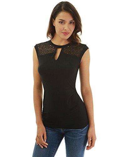 PattyBoutik Damen Ärmellose Bluse mit eingesticktem Schlüssellocheinsatz aus Spitze (schwarz S 36/38)