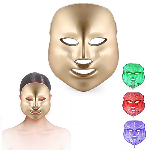 ZRYstore 3 Farben LED Maske Gold LED Licht Therapie treatment Gesicht Schönheit Skin Pflege Foto The