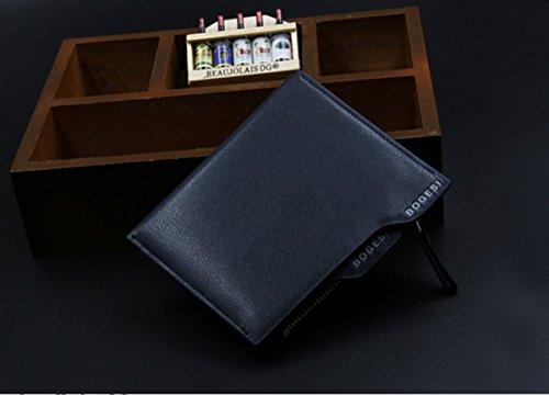 Da uomo in pelle PU a portafoglio frizione borsa Portafoglio Cards denaro nero BROWN Länge: 12cm, Breite: 9,5cm, Dicke�?cm BLUE