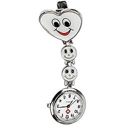 Unisex Heart Clip-on Brooch Pendant Hanging Quartz Nurse Doctor Pocket Watch