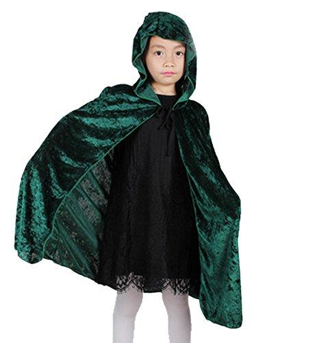 Deley bambini costume di halloween ragazze di velluto con cappuccio mantello del capo masquerade cosplay accessori verde
