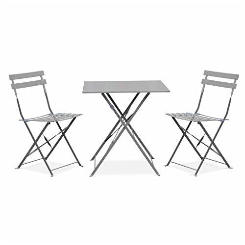 Alice's Garden - Salon de Jardin bistrot Pliable - Emilia Gris Taupe - Table carrée 70x70cm avec Deux chaises Pliantes, Acier thermolaqué