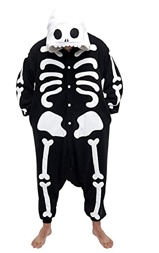 Canberries® Skelett Kigurumi Pyjamas für Erwachsene, Anime/Cosplay/Halloween-Kostüm (M, Skelett) (Awesome Lustig Halloween-kostüme)