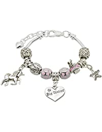 Jewellery Hut Girl's Unicorn Message Charm Bracelet with Gift Box - 9 Special Messages to Choose from
