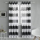 Topfinel Voile Vorhänge mit Ösen Streifen Transparent Gardinen für Wohnzimmer Schlafzimmer Kinderzimmer 2er Set je 140x220cm Grau