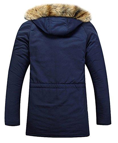 Brinny Herren Jacke Kapuze Winterjacke Winter Mantel Jacket Warm Parka Westen Hoodie Pelzkragen Dunkelbrau