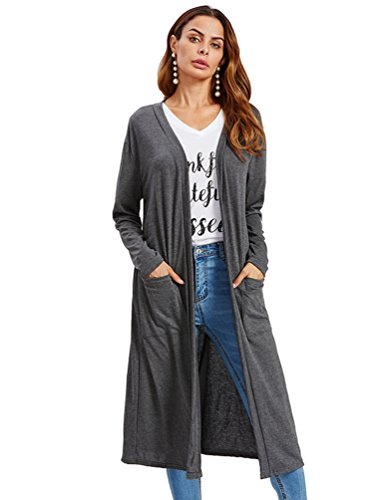 Sentao Donna Autunno Inverno Cardigan Giacca Maniche Lunghe Maglia Maglione Outwear Tops Cappotto Trench Coat Grigio 2 #
