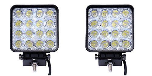 Preisvergleich Produktbild QXXZ 2 Stück 48W Platz Arbeitsscheinwerfer LED Fahrlicht Zusatzscheinwerfer Fahrleuchten Offroad Lampen LED Light Bar Nebelscheinwerfer Flut Spot Arbeitsscheinwerfer Wasserdicht IP67 12V 24V, 12V