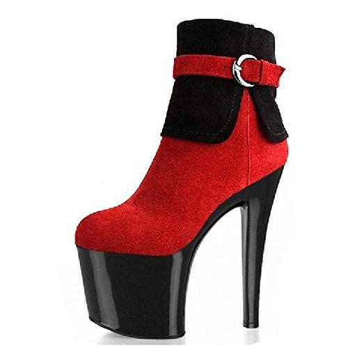 WIKAI Donna Stivali Stivali moda inverno vello Party & Sera fibbia Zipper Stiletto Heel Rubino Nero 5a e oltre Black