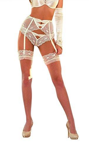 umwerfend Elfenbein Hüftgürtel oder weiss Hüftgürtel für angehende Braut Hochzeit Unterwäsche Braut Unterwäsche schöne Spitze sexy Strumpfhalter - Creme, Large 12/14