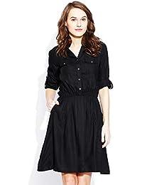 VAAK Women's Rayon Solid Band Collor Dress (Black)