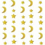 Vosarea 2pcs Paillettes Lune étoile Papier Guirlande Pendaison décoration faveurs du Parti pour Mariage fête de fête d'anniversaire (Or)