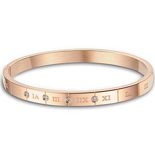 JewelryWe Schmuck Damen Armband, Klassiker Römische Zahlen Ziffern Freundschaftsarmband Armreif, Zirkonia Diamant Edelstahl, Rose Gold
