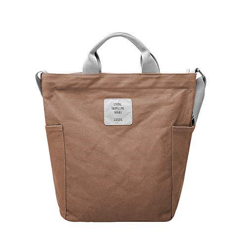 Tasche Braun Stoff Handtaschen (Gindoly Casual Handtasche Damen Canvas Chic Schultertasche Damen Henkeltasche Schulrucksack Große umhängetasche Tasche Braun EINWEG)