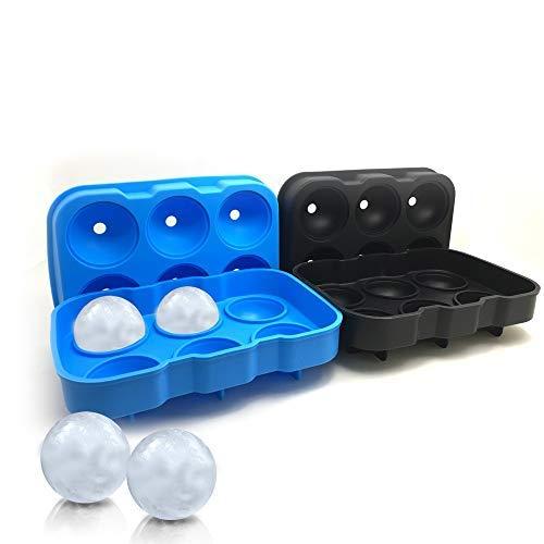2Packungen von 6-cavity Ice Ball Schimmel, sourceton schwarz und Blue Flexible Silikon Eis Kugel Tablett, wiederverwendbare Ice Ball Maker für Whisky, Bourbon, Cocktail - Silikon-eis-kugel-schimmel