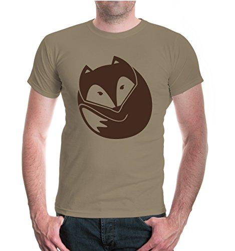 buXsbaum Herren Unisex Kurzarm T-Shirt Fuchs V2 | Wildtiere Natur Wald | M Khaki-Brown Beige