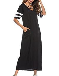 SANFASHION Bekleidung Vestido - Trapecio o Corte en A - Manga Corta - para Mujer