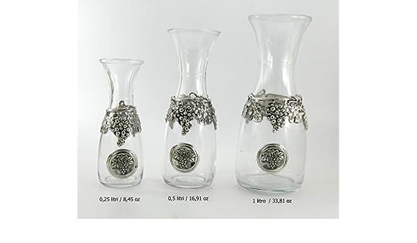 Un Quarto Di Litro.Bottiglia Decanter Vetro Peltro Uva Per Vino Acqua 1 Litro
