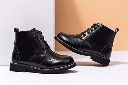 Filles Garçons Martin Bottes Boots Chaussures de Cuir Ville Souliers Raquettes à Neige Marron Noir