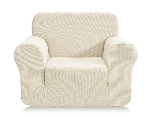 E EBETA Elastisch Sofa Überwürfe Sofabezug, Stretch Sofahusse Sofa Abdeckung Hussen für Sofa, Couch, Sessel 1 Sitzer (Cremefarbe, 85-115 cm)