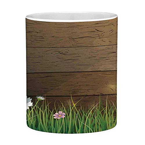 Rongpona Bleifreie Keramikkaffeetasse Teetasse Weiße Aquarellblume Wohnkultur 11 Unzen Lustige Kaffeetasse Daisy Field vor Holzzaun Sunny Lush Foliage Theme Grünbraun