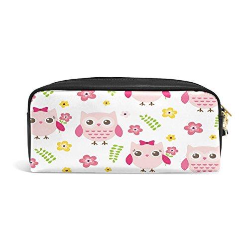 Domoko Spring Floral Print Eule PU Leder Pen Pouch Federmappe Fall Make-Up Kosmetik reisen Schule Tasche