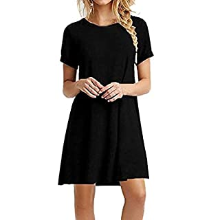 Gofodn Dresses for Women Plus Size Solid Casual Short Sleeve Loose Swing T-Shirt Tops Black