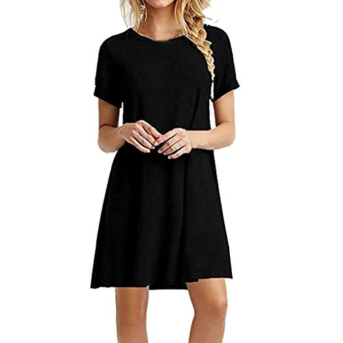 JIAJIJIAJNGY Mode Womens Solid O-Neck Kurzarm LäSsige Swing Lose Kleid