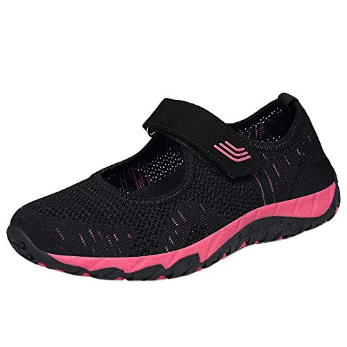 MOIKA Mode Frauen fliegen gewebte bequeme leichte Schuhe Freizeitschuhe Mesh Schuhe(235/37,Schwarz